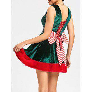 Lace Up Bowknot Christmas Mini Skater Dress - GREEN 2XL