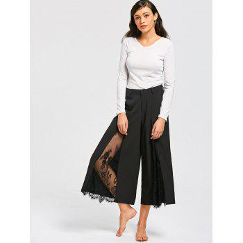 Eyelash Lace Insert Wide Leg Pants - BLACK XL