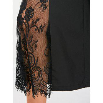 Eyelash Lace Insert Wide Leg Pants - BLACK 2XL