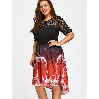 Plus Size Christmas Party Lace Panel Vintage Dress - RED 5XL
