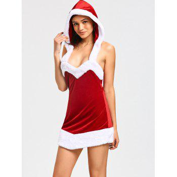 Hooded Backless Mini Christmas Dress - RED RED