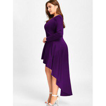 Plus Size V Neck Cocktail Dress - DEEP PURPLE XL