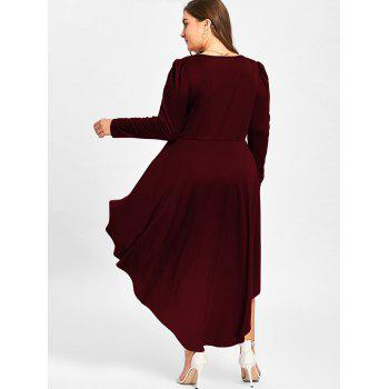 Plus Size V Neck Cocktail Dress - WINE RED 5XL