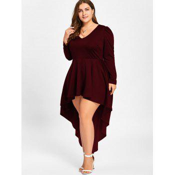Plus Size V Neck Cocktail Dress - WINE RED 3XL
