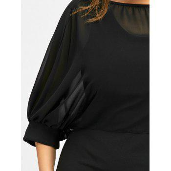 Plus Size Tank Dress and Chiffon Cape - BLACK 2XL
