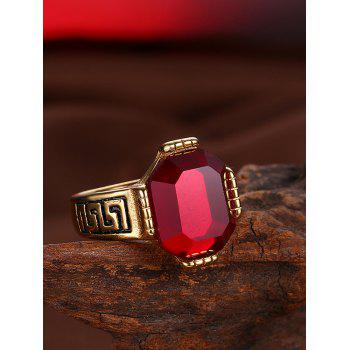 Faux Ruby Engraved Fret Finger Ring - RED RED