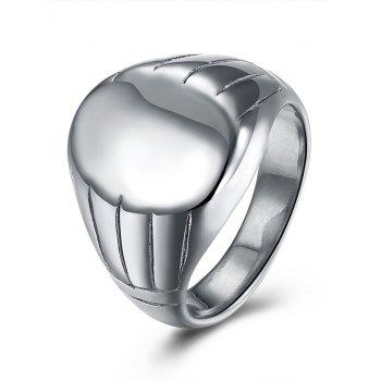 Oval Engraved Claw Pattern Finger Ring - SILVER SILVER