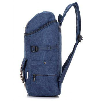 Buckle Straps Zip Backpack - BLUE