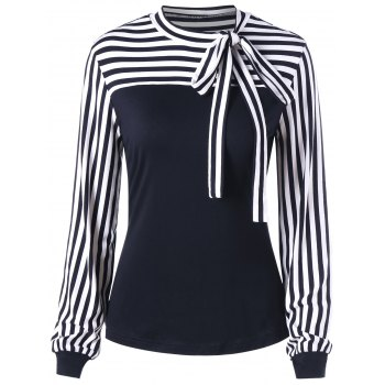 Bowknot Striped Long Sleeve Top