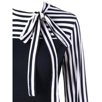Bowknot Striped Long Sleeve Top - BLACK M