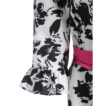 Belted Bell Sleeve Floral Printed Plus Size Coat - BLACK 3XL