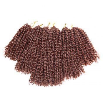 3Pcs Afro Kinky Curly Mali Bob Twist Braids Short Synthetic Hair Weaves - DARK AUBURN