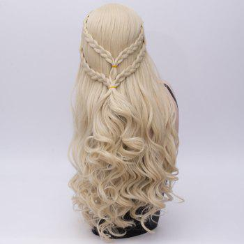 Long Braids Wavy Synthetic Game of Thrones Daenerys Targaryen Cosplay Wig - LIGHT GOLD