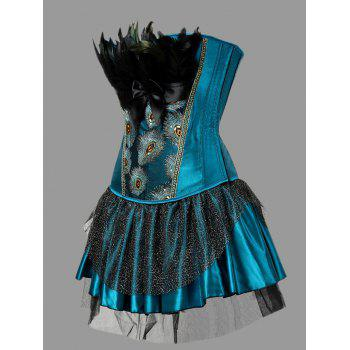Plus Size Two Piece Corset Dress with Feather - PEACOCK BLUE 5XL