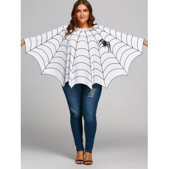 a846560e1429d  LIMITED OFFER  2019 Halloween Spider Web Printed Plus Size Poncho Blouse  In WHITE ONE SIZE