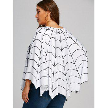 Halloween Spider Web Printed Plus Size Poncho Blouse - WHITE ONE SIZE
