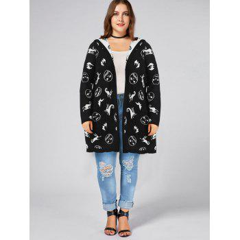 Halloween Plus Size Hooded Graphic Cardigan with Pockets - BLACK XL
