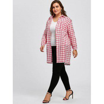 Plus Size Cute Long Plaid Shirt - RED 3XL