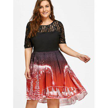 2018 plus size christmas party lace panel vintage dress red xl in