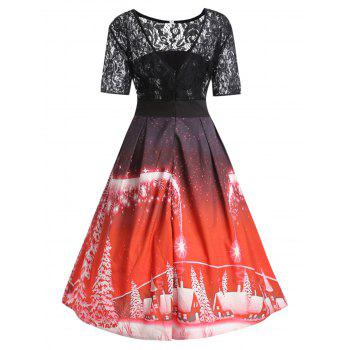 Plus Size Christmas Party Lace Panel Vintage Dress - RED XL