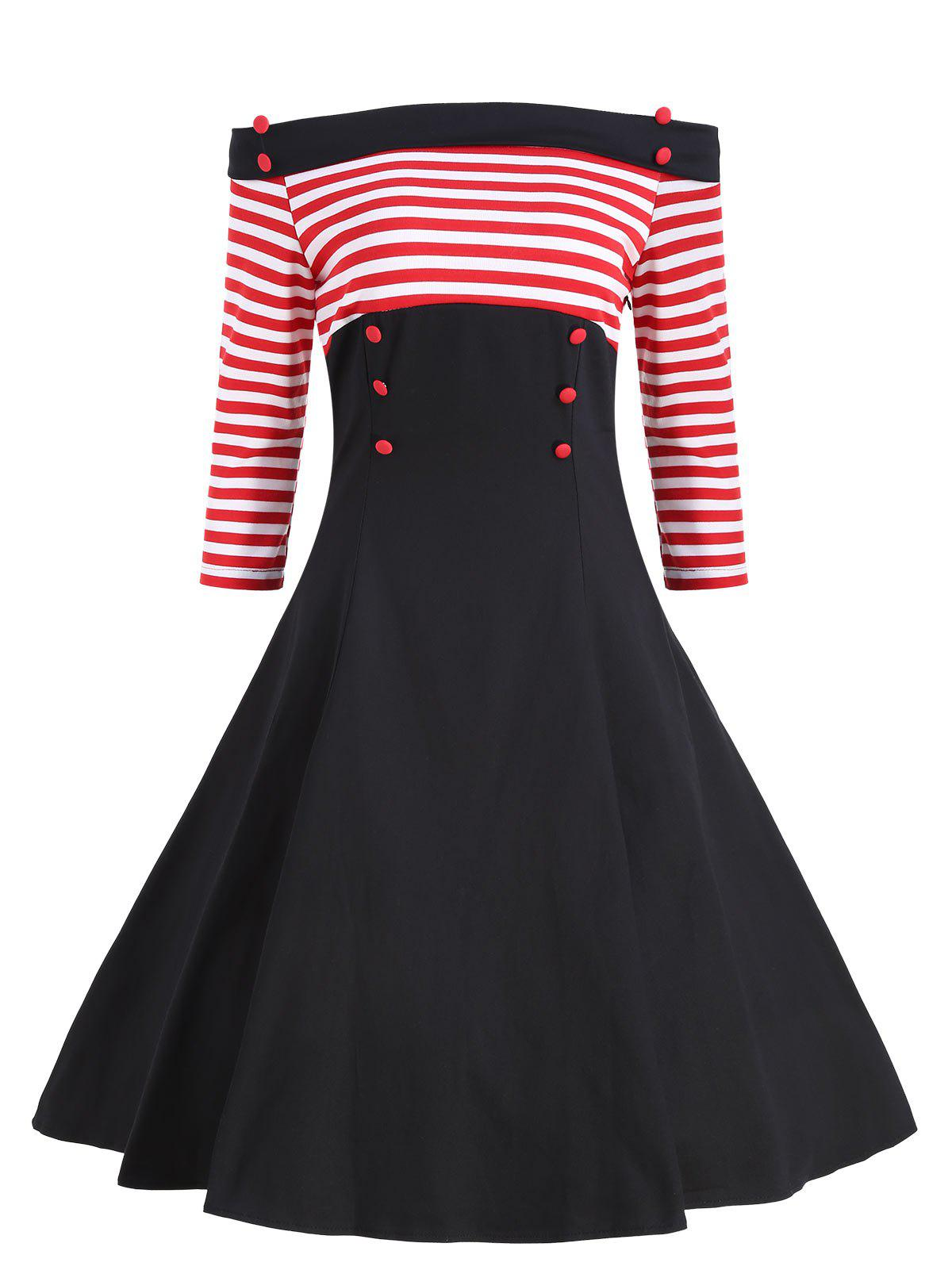 Buttons Striped Off The Shoulder Vintage Dress - RED S