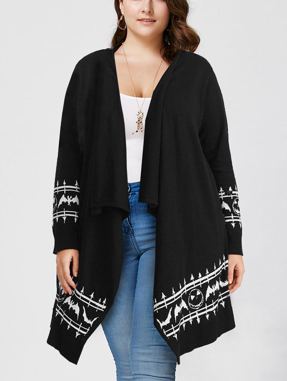 2018 Halloween Plus Size Graphic Long Sleeve Cardigan BLACK XL In ...