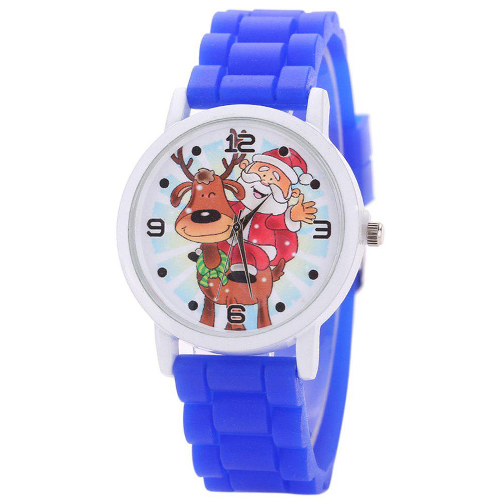 Christmas Deer Santa Face Silicone Watch - BLUE