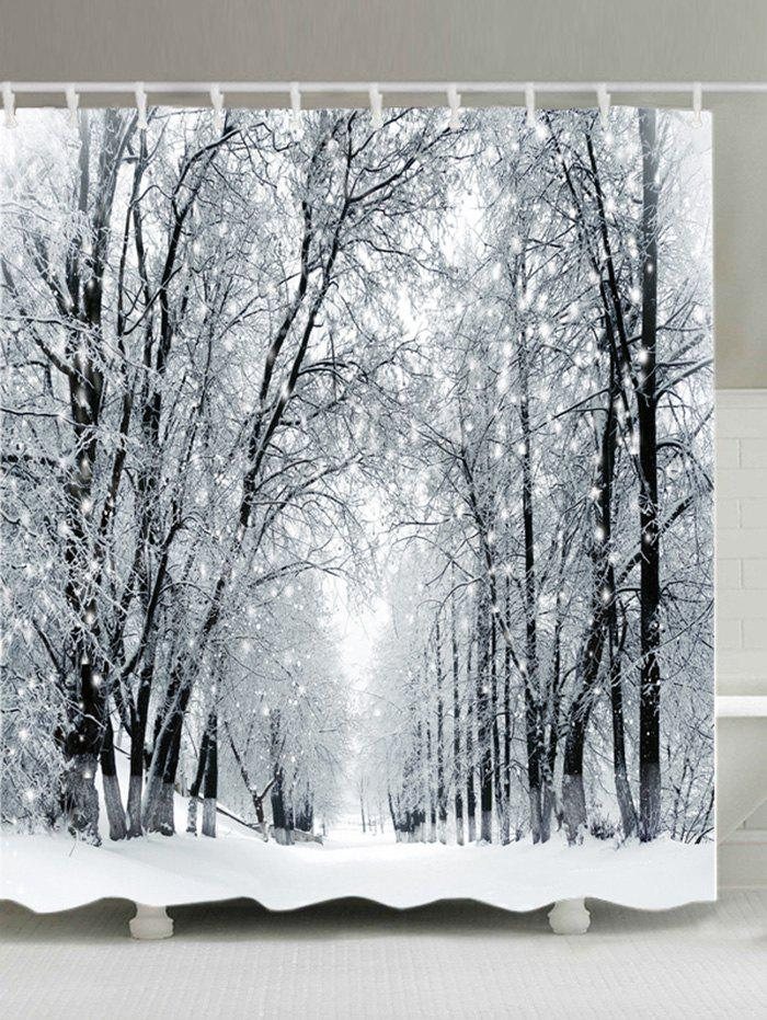 Snowy Forest Path Print Waterproof Bathroom Shower Curtain merry christmas waterproof shower curtain bathroom decoration