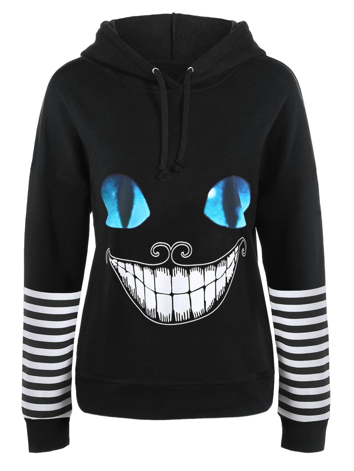 Cat Face Print Halloween Drawstring Hoodie - BLACK L