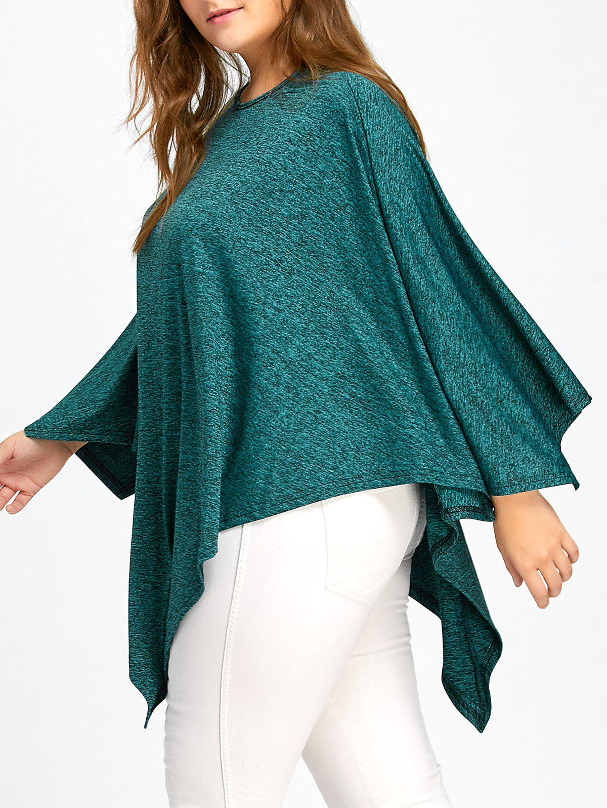 Plus Size Batwing Sleeve Asymmetric Poncho Top - GREEN 2XL