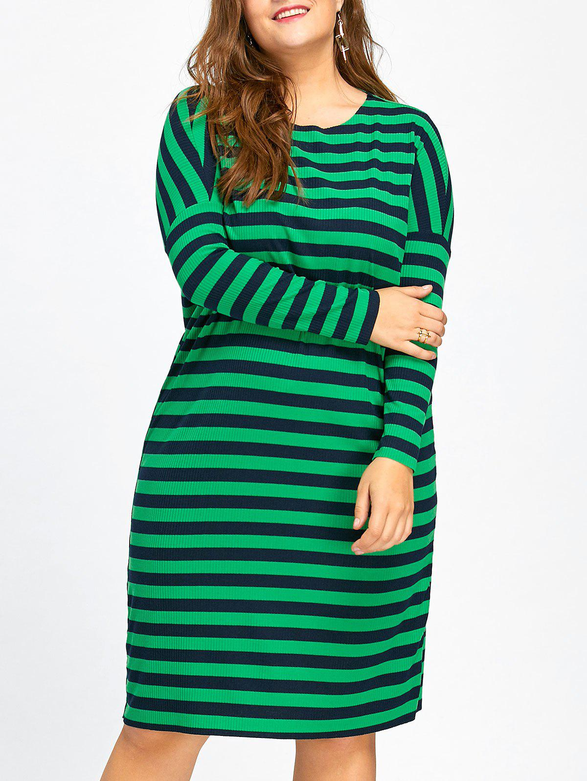 Plus Size Long Sleeve Stripe Knitted Dress plus size double pockets knitted dress