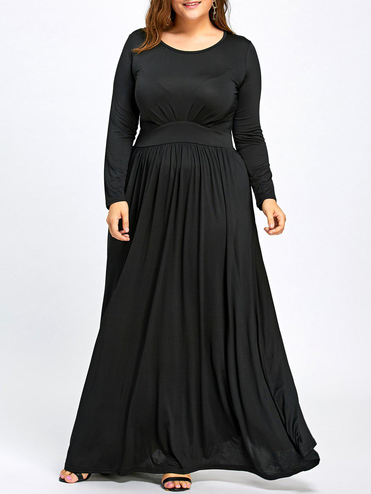 Long Sleeve Plus Size Floor Length Dress - BLACK 2XL