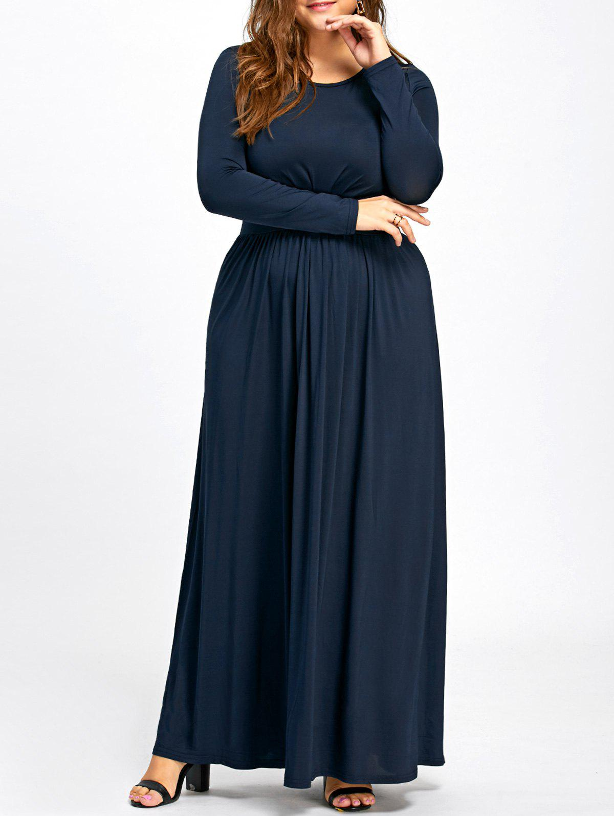 Long Sleeve Plus Size Floor Length Dress - CADETBLUE 3XL