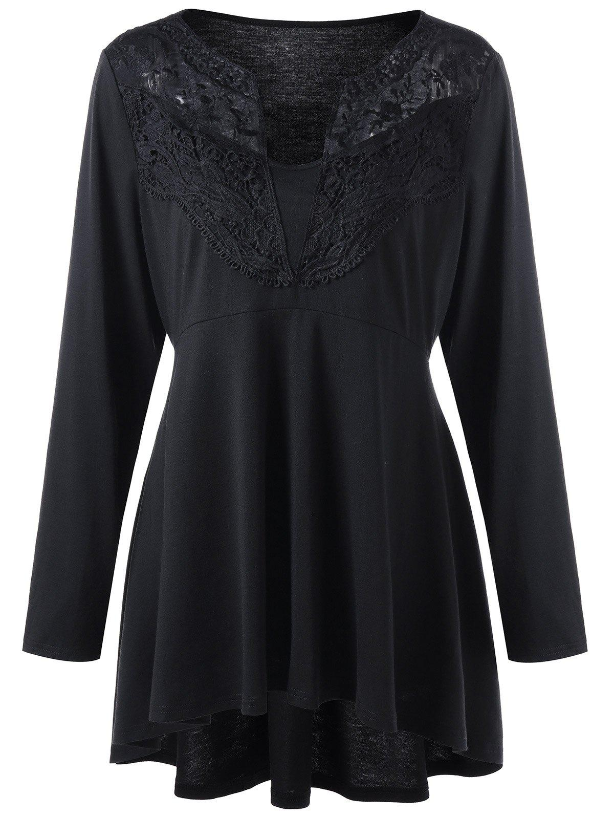 Plus Size Lace Trim High Low Hem Top - BLACK XL