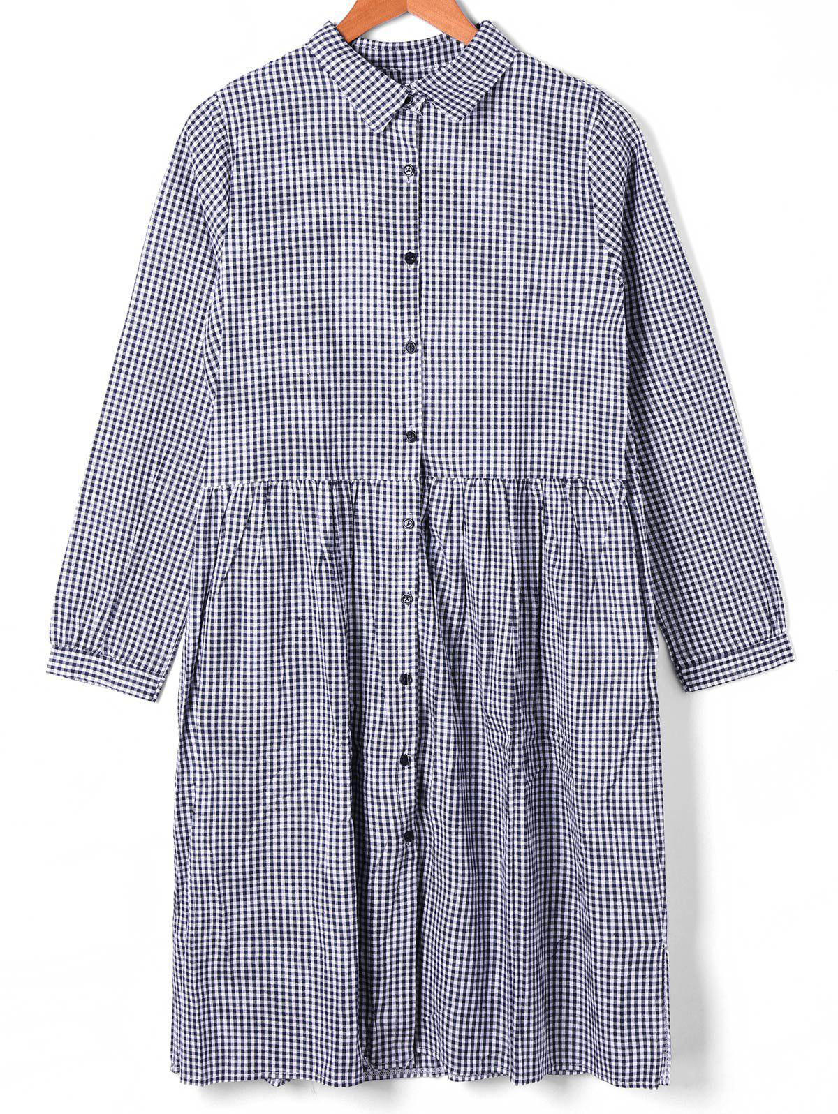 Button Down Plaid Shift Dress - CHECKED L