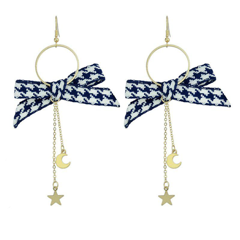 Star Moon Pendant Drop Bow Embellished Hook Earrings moon flac jeans