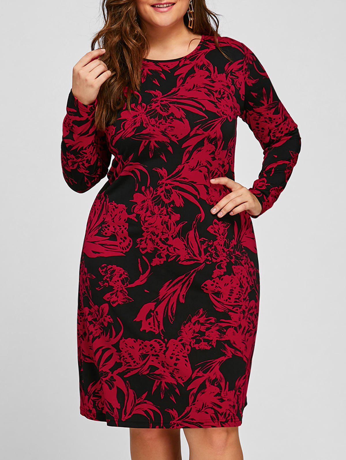 Sheath Plus Size Floral Long Sleeve Dress - RED 2XL