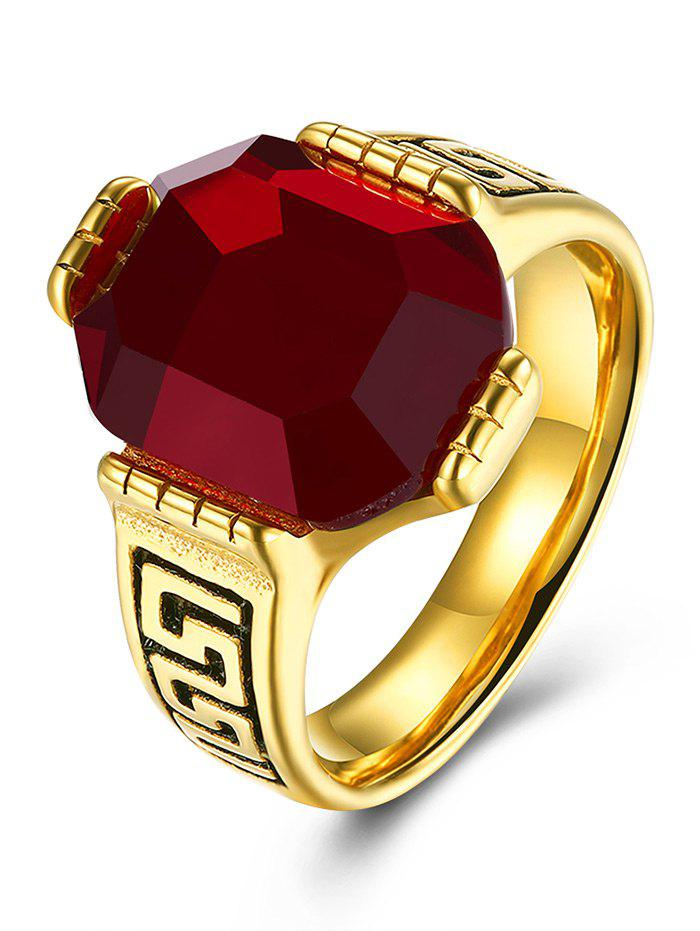 Faux Ruby Engraved Fret Finger Ring - RED 10
