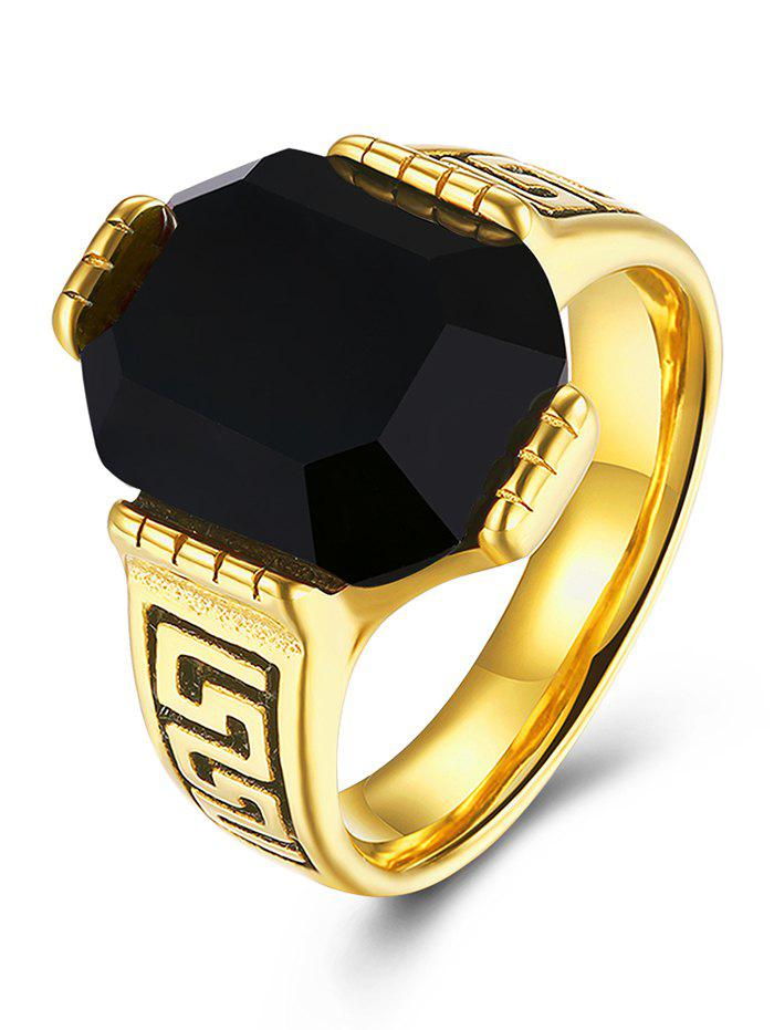 Faux Ruby Engraved Fret Finger Ring - BLACK 9