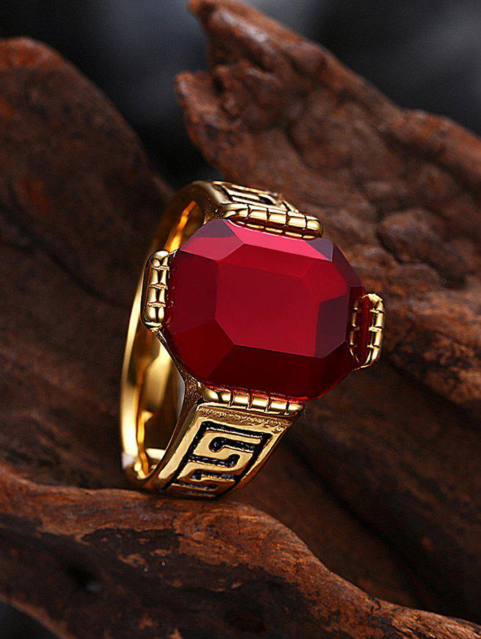Faux Ruby Engraved Fret Finger Ring - RED 8