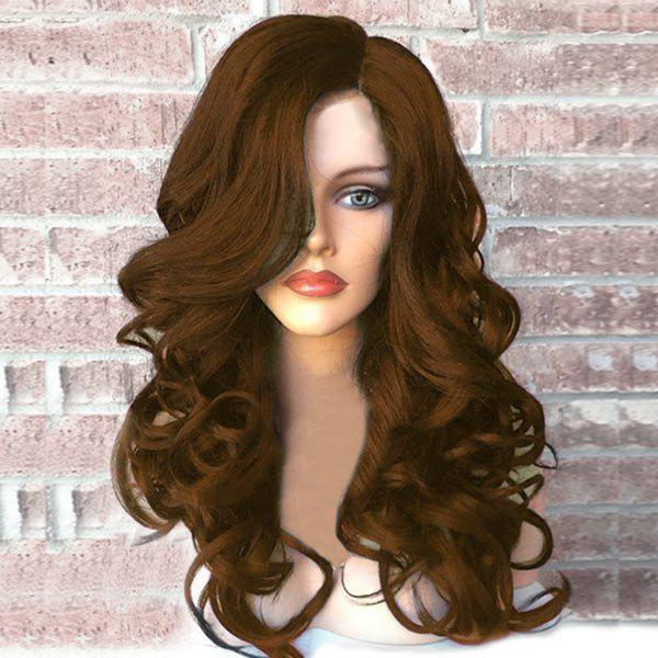 Side Part Fluffy Long Wavy Synthetic Wig - BROWN