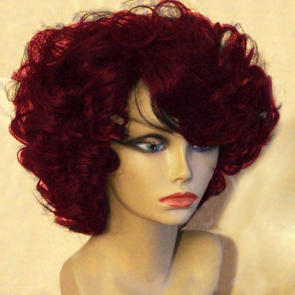 Short Side Bang Towheaded Afro Curly Synthetic Wig - WINE RED