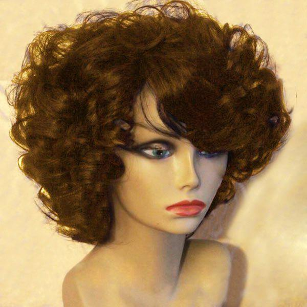 Short Side Bang Towheaded Afro Curly Synthetic Wig - BROWN