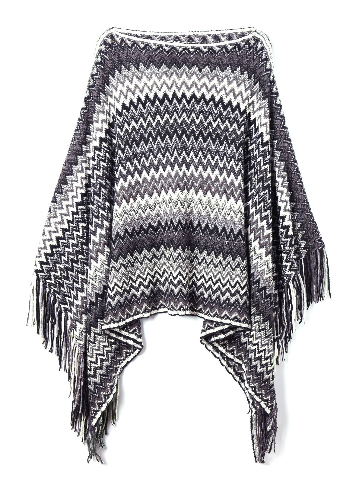 Plus Size Zig Zag Pattern Fringed Poncho Sweater pontoon21 zanu zag вокер купить