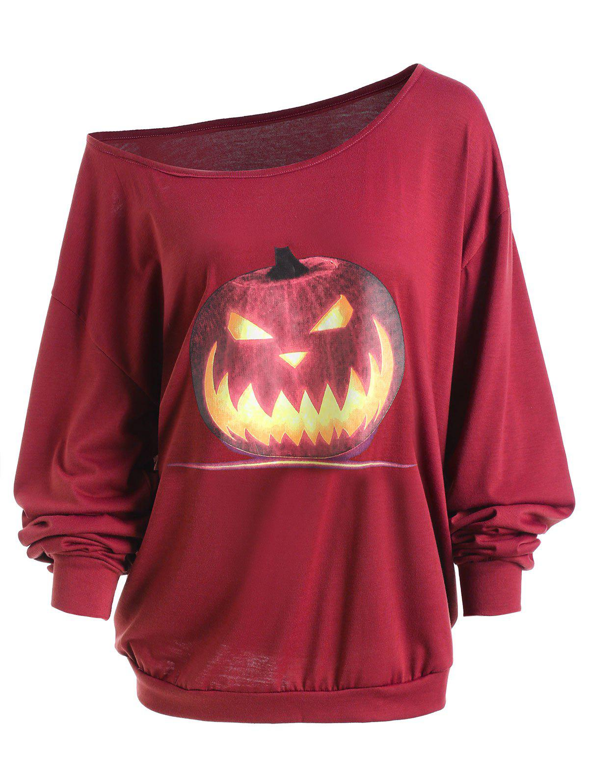 Plus Size Halloween Angry Pumpkin Skew Neck Tee dragonfly print skew collar plus size tee