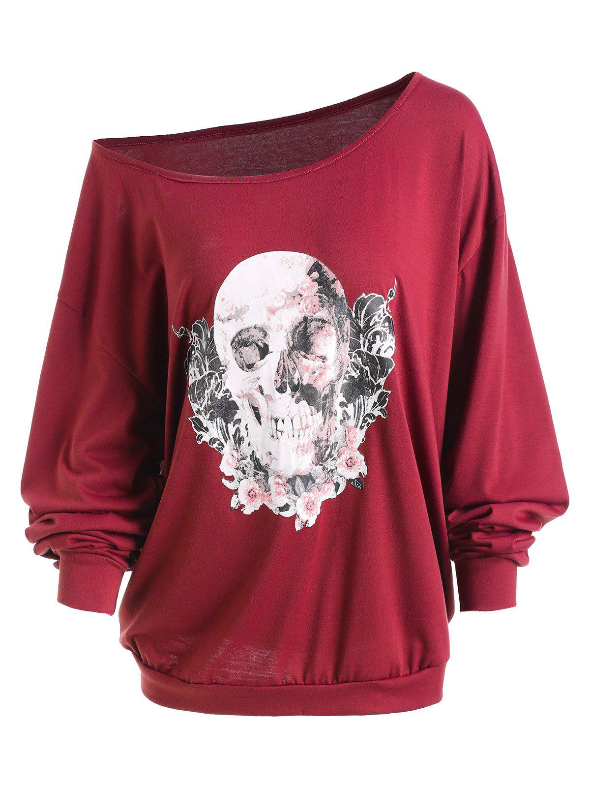 Plus Size Halloween Rose Skull Skew Neck Tee - WINE RED 2XL