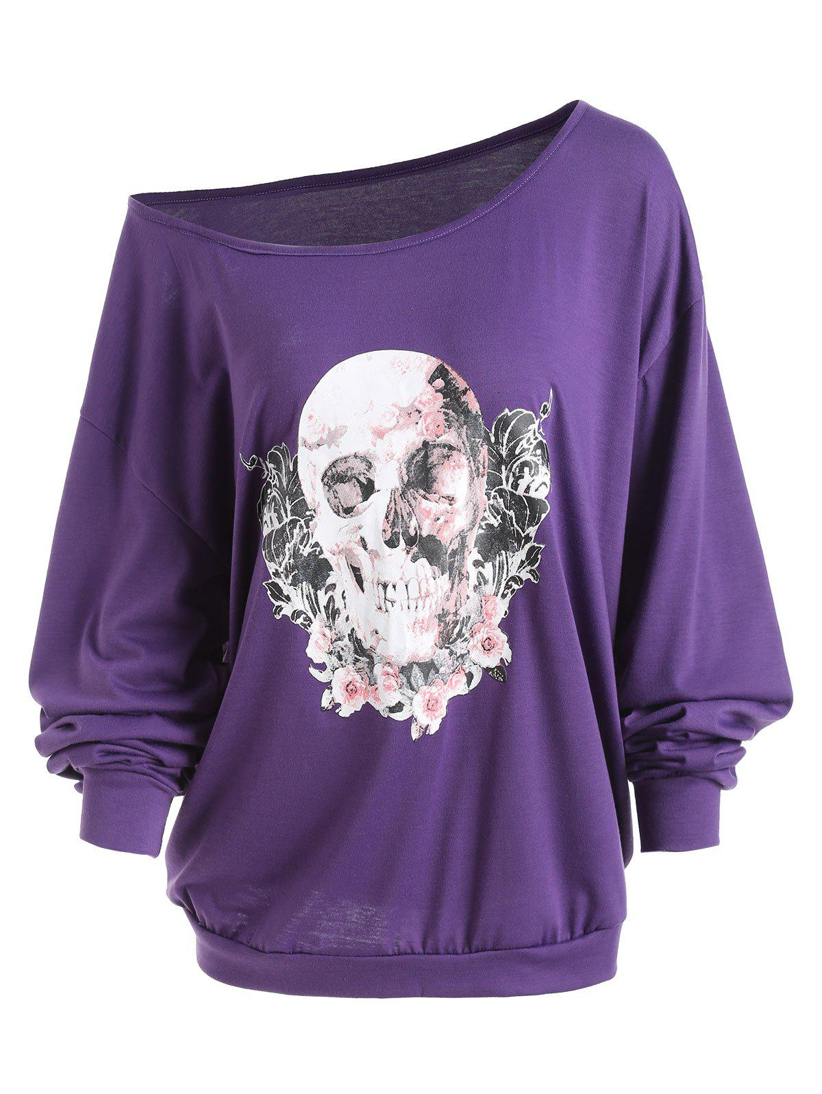 Plus Size Halloween Rose Skull Skew Neck Tee - PURPLE XL