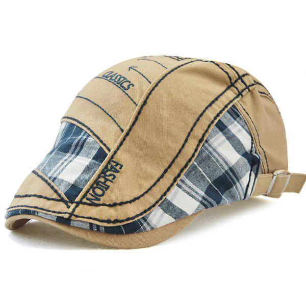 Outdoor Patchwork Embroidery Cabbie Cap - KHAKI
