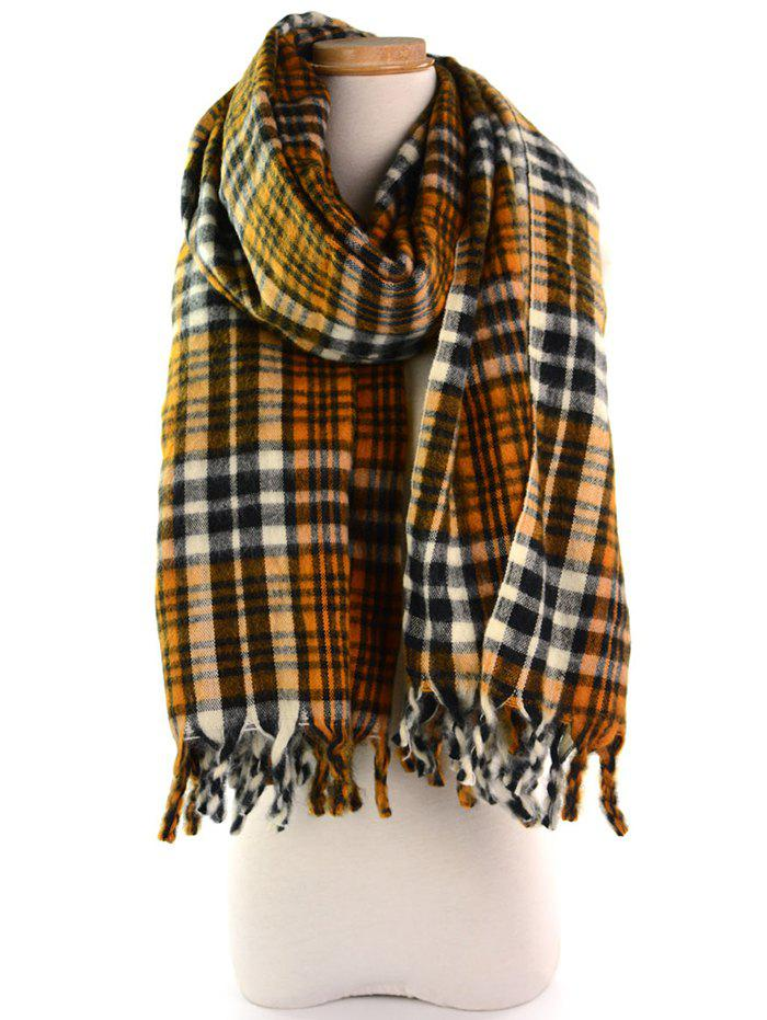 Outdoor Tartan Pattern Tassel Long Scarf - EARTHY