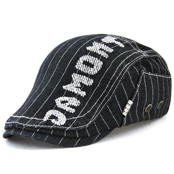 Outdoor Letter Pattern Embellished Denim Newsboy Hat - BLACK